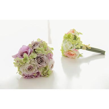 Bouquets de Noiva Atado à Mão Forma-Livre Rosas Buquês Casamento Festa / noite Cetim Cetim Elástico 5.12