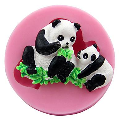 Parent-child panda Fondant Cake Chocolate Silicone Molds,Decoration Tools Bakeware