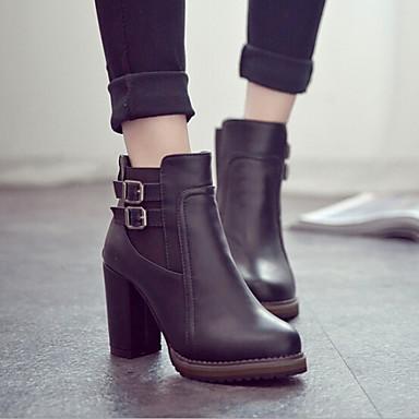 Kadın Ayakkabı Patentli Deri Sonbahar Kış Kalın Topuk Blok Topuk Bootiler/ Bilek Botları Toka Uyumluluk Günlük Siyah Kahverengi