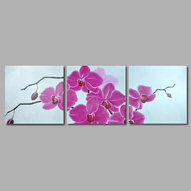 Peint à la main Abstrait / A fleurs/BotaniqueModern Trois Panneaux Toile Peinture à l'huile Hang-peint For Décoration d'intérieur