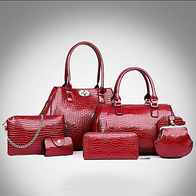 Feminino Couro Legítimo Formal / Casual / Trabalho & Escritório / Compras Conjuntos de saco Branco / Azul / Vermelho / Preto