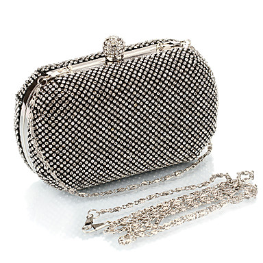 Women Bags Polyester Evening Bag Crystal/ Rhinestone for Event/Party All Seasons Gold Black Silver