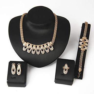 Strass Brautkleidung 18K Gold Aleación Gold 1 Paar Ohrringe 1 Armreif Halsketten Ringe Für Hochzeit Party 1 Set Hochzeitsgeschenke
