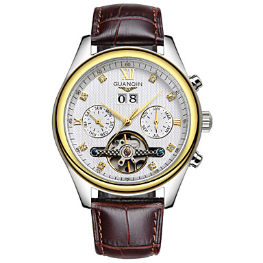 Herren Armbanduhr Automatikaufzug Kalender / Wasserdicht / Transparentes Ziffernblatt Leder Band Schwarz / Braun Marke
