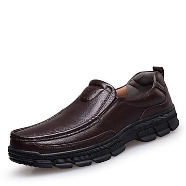 Муж. обувь Кожа Весна Осень Удобная обувь Мокасины и Свитер для Повседневные Черный Коричневый