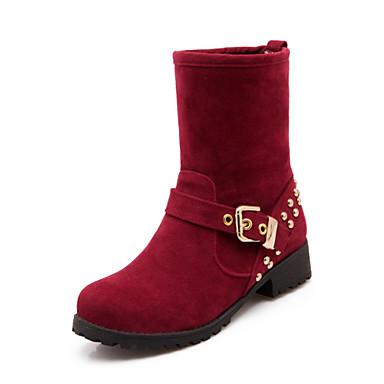 Støvler-PUDame-Sort Rød Beige-Fritid-Tyk hæl