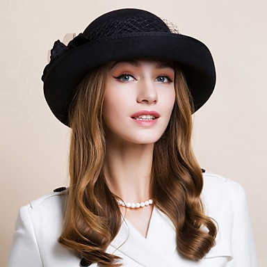 Wool Hats Headwear with Floral 1pc Wedding Special Occasion Casual Office & Career Outdoor Headpiece