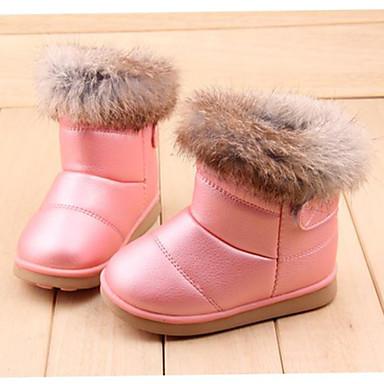 Genç Kız Ayakkabı Kürk / Yapay Deri / PU Kış Rahat Sihirli Bant için Beyaz / Pembe / Fuşya / Bootiler / Bilek Botları