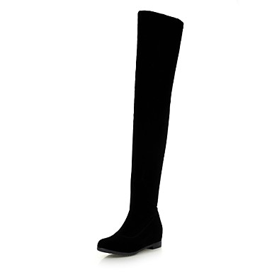Feminino Sapatos Flanelado Outono Inverno Salto Plataforma Carregadores coxa-alta Ziper Para Casual Social Preto