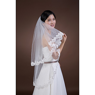 Two-tier Lace Applique Edge Wedding Veil Fingertip Veils 53 Rhinestone Appliques Tulle