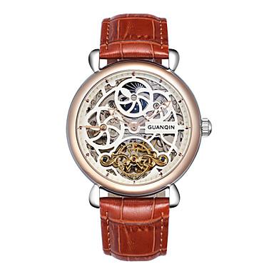 Herren Armbanduhr Automatikaufzug Wasserdicht / Transparentes Ziffernblatt Leder Band Schwarz / Braun Marke