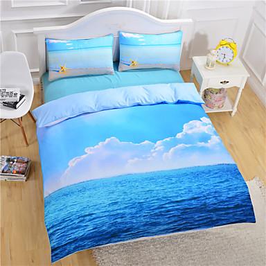 Bettbezug-Sets 3D Polyester / Baumwolle Reaktivdruck 3 Stück / 200 / 3-teilig (1 Bettbezug, 2 Kissenbezüge)