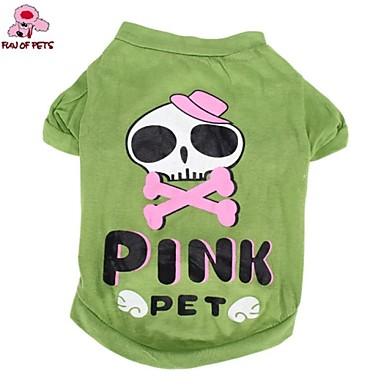 Katze Hund Kostüme T-shirt Austattungen Hundekleidung Totenkopf Motiv Cartoon Design Grün Baumwolle Kostüm Für Haustiere Cosplay Hochzeit