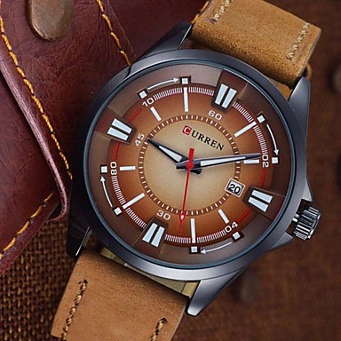 CURREN Męskie Zegarek na nadgarstek Kwarcowy Skóra Pasmo Czarny Brązowy Khaki