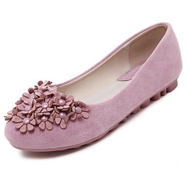 플랫 - 드레스 / 캐쥬얼 - 여성의 신발 - 컴포트 / 발레리나 / 둥근 앞코 - 플리스 - 플랫 - 블랙 / 핑크 / 퍼플