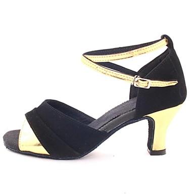 Pentru femei Latin Salsa Sală Dans Satin Sandale Cataramă Toc Personalizat Roșu Argintiu Auriu Personalizabili