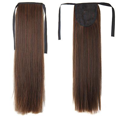A Clipser Droite Queue-de-cheval Synthétique Pièce de cheveux Extension des cheveux