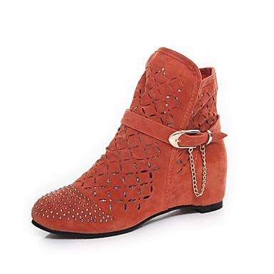 Mujer Zapatos Vellón Otoño Confort / Botas de Moda / Suelas con luz Botas Paseo Tacón Plano Dedo redondo Pedrería / Cadena Negro /