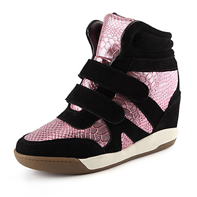 Women's Shoes Leather Flat Heel Comfort / Round Toe Fashion Sneakers Office & Career /Pink / White / Gold
