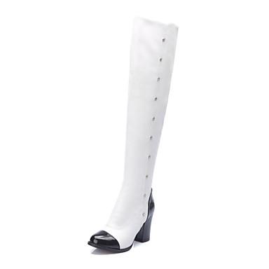 Damen Schuhe Kunstleder Winter Herbst Blockabsatz 50,8 cm ca. oder höher Übers Knie für Kleid Weiß Schwarz