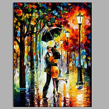 Uno amanti del pannello sotto la pioggia mano moderno tele for Tele dipinte a mano moderne