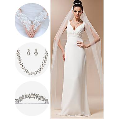 свадебные аксессуары, установленные (вуаль& перчатки& головной убор& ожерелье& серьги)