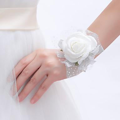 زهور الزفاف باقات باقة ورد في رسغ ديكور زفاف جميل أخرى أزهار اصطناعية زفاف مناسبة خاصة حفل / مساء مادة دانتيل 0-20cm