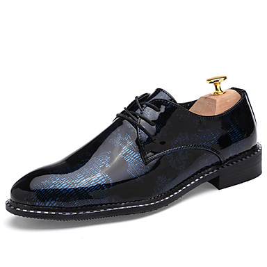 Men's Shoes Leatherette Winter Spring Fall Comfort Oxfords Lace-up For Wedding Casual Silver Red Blue Golden