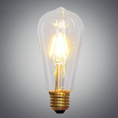 E14 E26/E27 Hehkulamput A60(A19) 2 LEDit COB Koristeltu Keltainen 2700K AC 220-240V