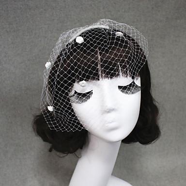 One-tier Cut Edge Wedding Veil Blusher Veils Veils for Short Hair 53 Satin Flower Tulle