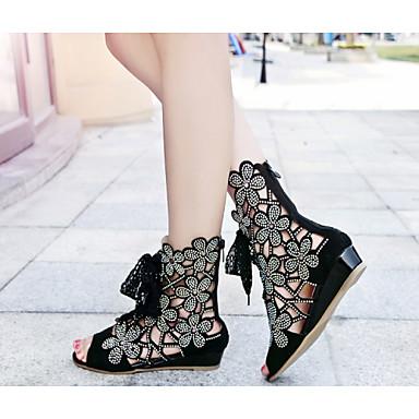 샌달 - 웨딩 / 드레스 / 파티/이브닝 - 여성의 신발 - 웻지 / 토오픈 - 가죽 - 웻지 굽 - 블랙