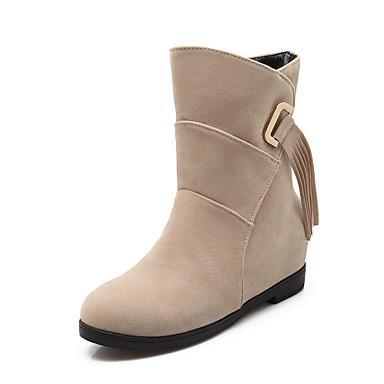 Støvler-Kunstlæder-Modestøvler-Dame-Sort / Rød / Beige-Formelt-Kilehæl
