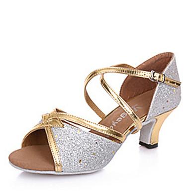 Women's Latin Shoes Paillette Sandal Buckle Cuban Heel Non Customizable Dance Shoes Silver / Gold / Indoor / Leather
