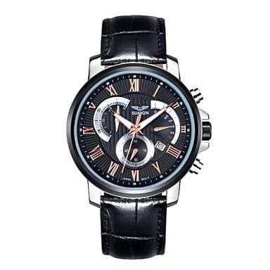 Herren Armbanduhr Quartz Kalender / Chronograph / Wasserdicht / leuchtend Leder Band Schwarz / Braun Marke