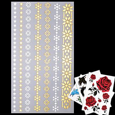 AML - 타투 스티커 - 패턴/허리 아래/Waterproof - 쥬얼리 시리즈 - 여성/남성/어른/Teen - 골드/멀티 컬러/실버 - 종이 - 4 - 20*9*0.1cm - Necklace