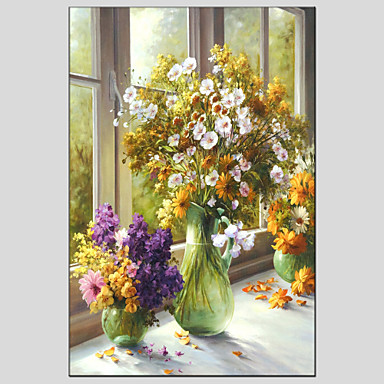 Oil Painting Hand Painted - Still Life Modern / European Style Canvas / Stretched Canvas
