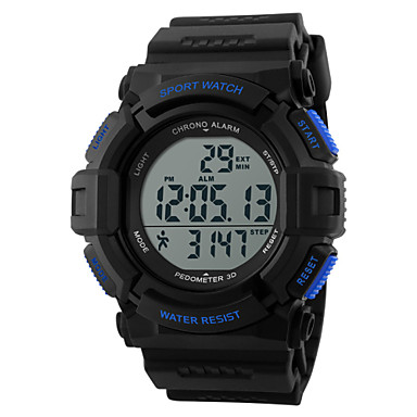 SKMEI Men's Sport Watch / Wrist Watch / Digital Watch Alarm / Calendar / date / day / Chronograph Rubber Band Charm Black / Heart Rate Monitor / Water Resistant / Water Proof / LCD / Two Years