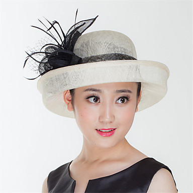 e975fcb2b44 Ivory Sinamay Derby Hat Fascinators Wedding Church Hat with Black Flowers  for women. cheap ...
