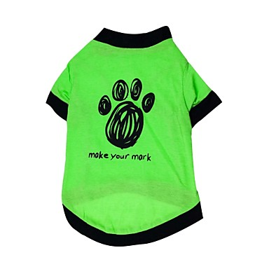 Gatos / Cães Camiseta Verde Roupas para Cães Verão / Primavera/Outono Floral / Botânico Da Moda