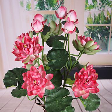 1 haara Polyesteri Lotus Pöytäkukka Keinotekoinen Flowers