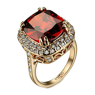Ring Damen kubische Zirkonia Legierung Legierung 6/7/8/9 Gold eleganten Stil