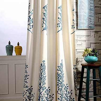 Rod Pocket Grommet Top Double Pleat Two Panels Curtain Country , Embroidery Leaf Bedroom Linen / Cotton Blend Material Curtains Drapes