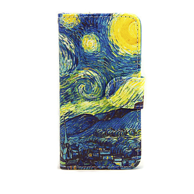Capinha Para Apple iPhone 7 Plus iPhone 7 Porta-Cartão Carteira Com Suporte Flip Capa Proteção Completa céu Cenário Rígida PU Leather para