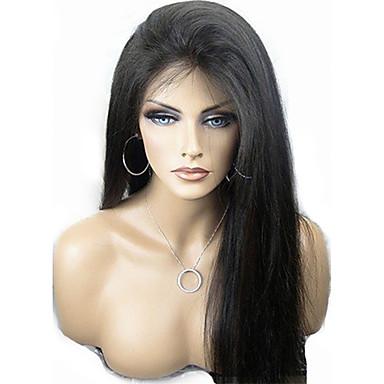 povoljno Perike i ekstenzije-Virgin kosa Perika pune čipke bez ljepila Lace Front Perika Kardashian stil Brazilska kosa Silky Straight Priroda Crna Perika 130% 150% Gustoća kose 8-24 inch s dječjom kosom Prolijevanje besplatno
