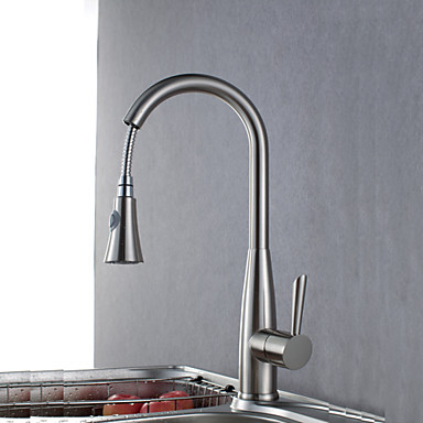 Contemporary Pull-out/­Pull-down Deck Mounted Pullout Spray Ceramic Valve Single Handle One Hole Brushed, Kitchen faucet