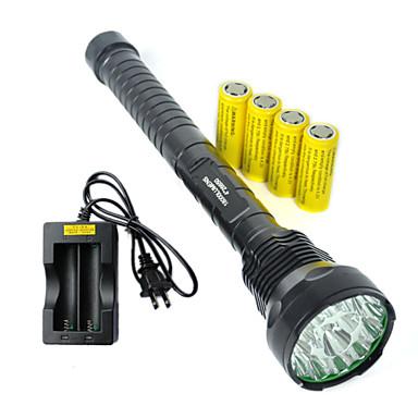 5 LED Fenerler LED 9000 lm 5 Kip Cree XM-L T6 Piller ve Şarj Aleti ile Darbeye Dayanıklı Şarj Edilebilir Su Geçirmez Acil Strike Bezel