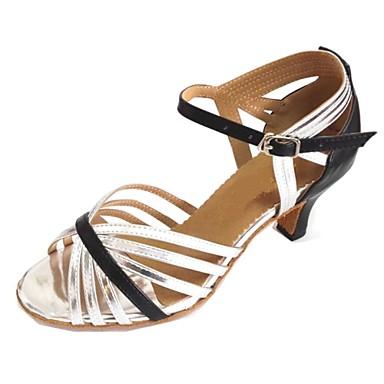 Mulheres Sapatos de Dança Latina Courino / Couro Sandália Interior / Espetáculo / Profissional Salto Personalizado Personalizável Sapatos