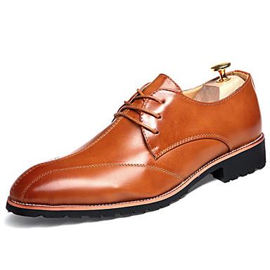 Masculino sapatos Couro Primavera Verão Outono Inverno Conforto Inovador Oxfords Cadarço Para Casual Festas & Noite Preto Marron