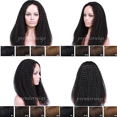 Premierwigs Ekte hår Helblonde Blonde Forside Parykk Kinky Curly Parykk 130% Hair Tetthet Naturlig hårlinje Afroamerikansk parykk 100 % håndknyttet Dame Kort Medium Lengde Lang Blondeparykker med