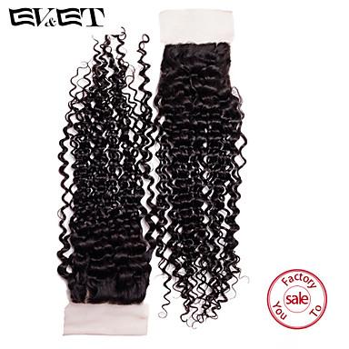 14 Natural Black Kinky Curly Human Hair Closure Medium Brown Swiss Lace 36g gram Cap Size